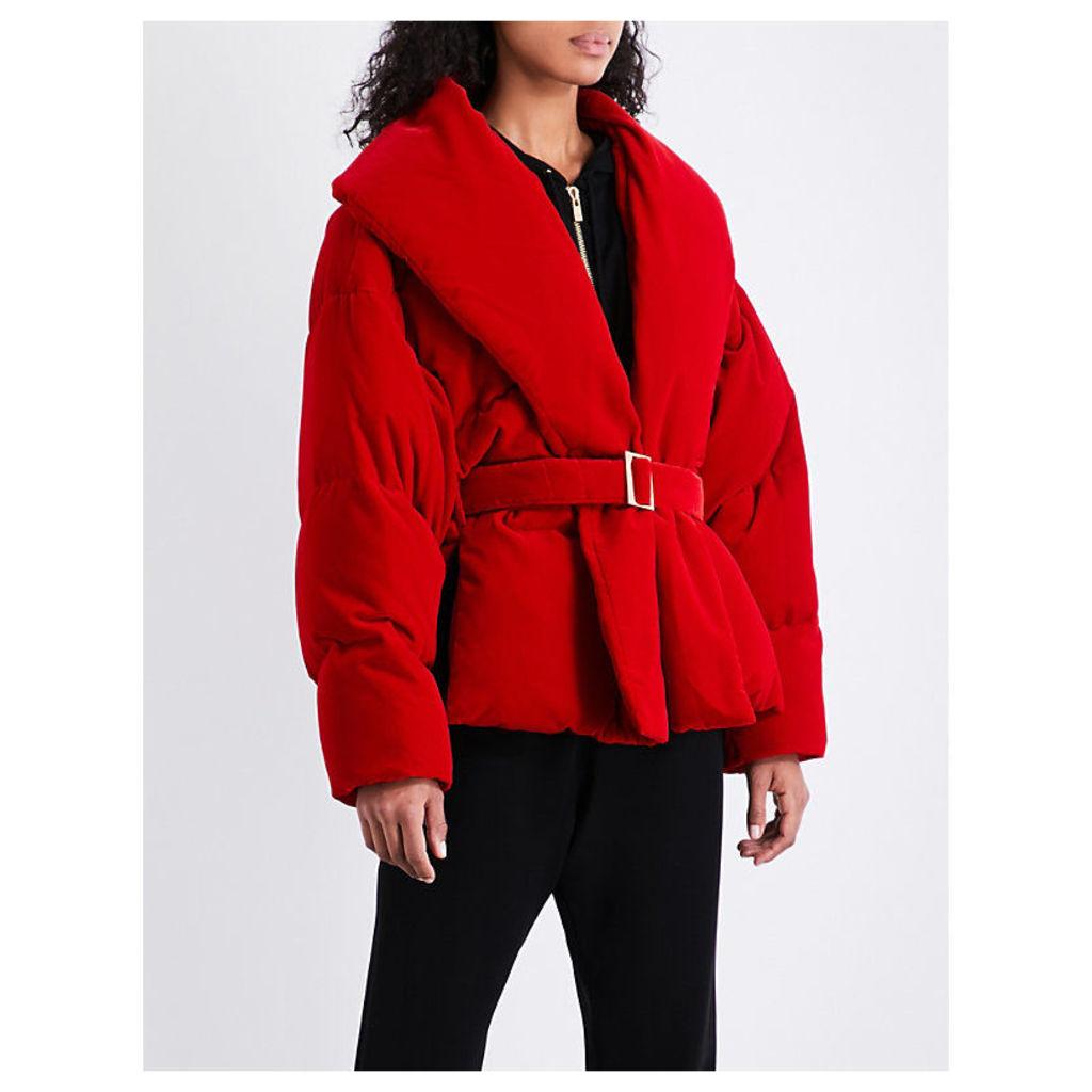 Padded velvet puffa jacket