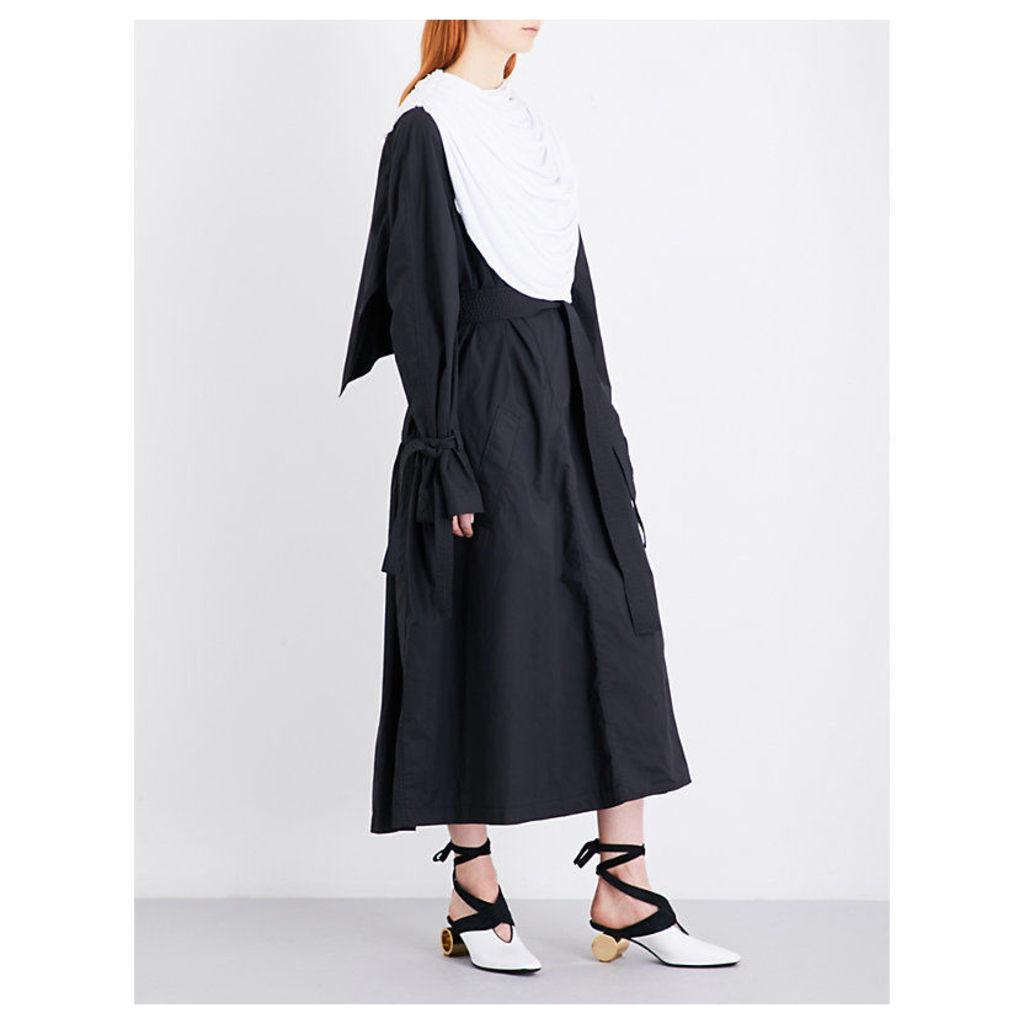 Draped scarf-panel cotton-gabardine coat