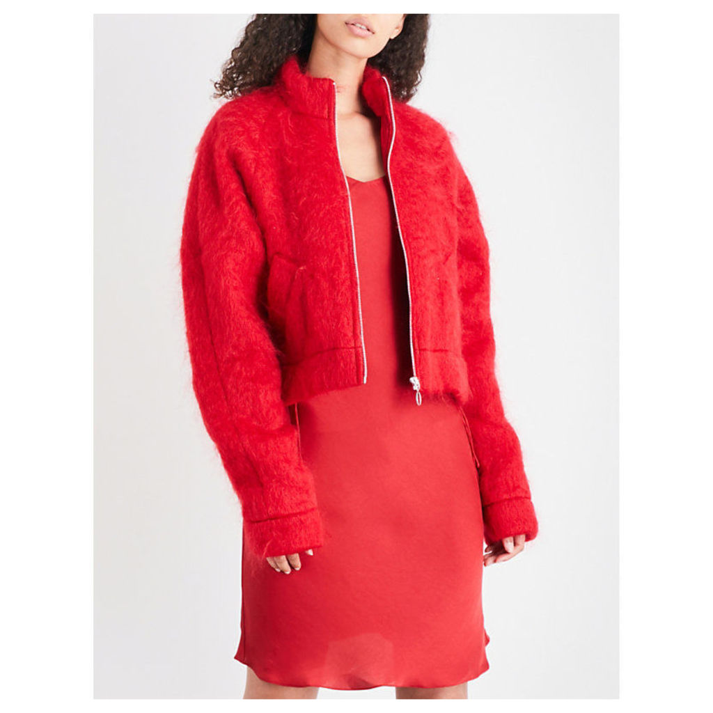 Stand-collar mohair jacket