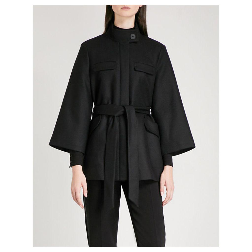 Funnel neck wool-blend coat