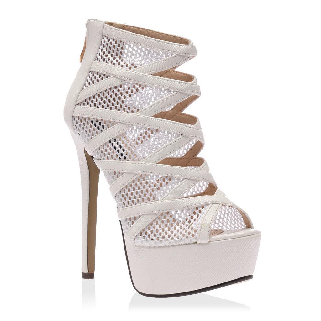 Priya  Platform Mesh Heels, White