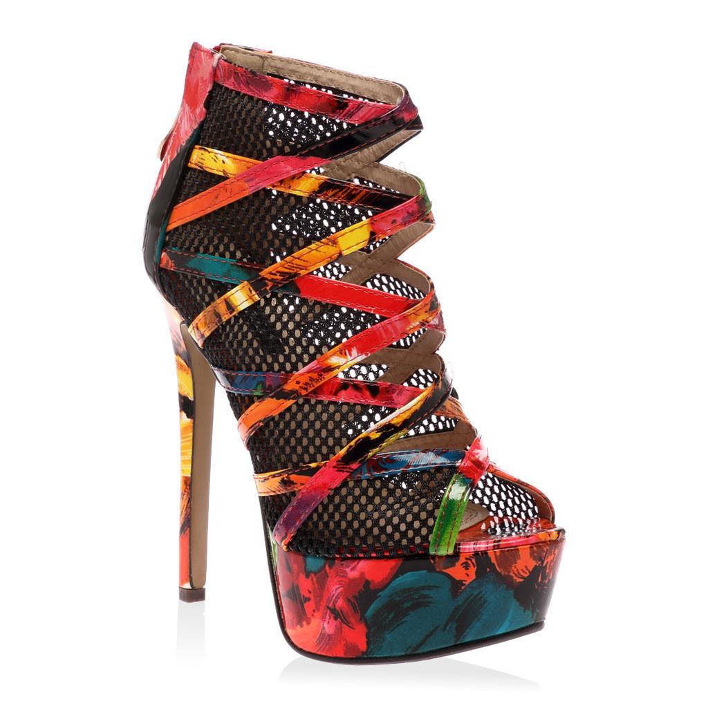 Priya  Muli Colour Platform Mesh Heels, Red