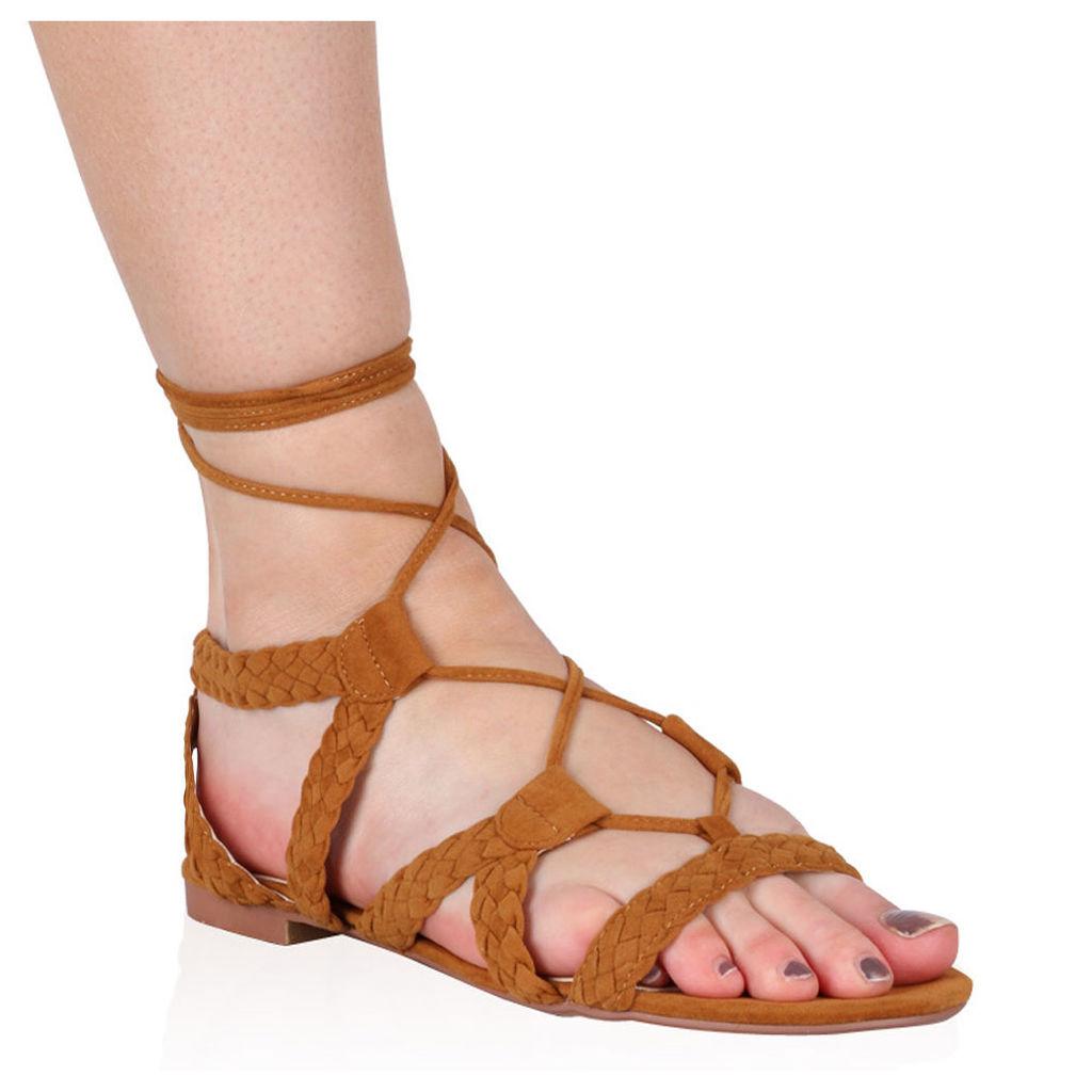 Joey Flat Gladiator Sandals  Faux Suede, Tan