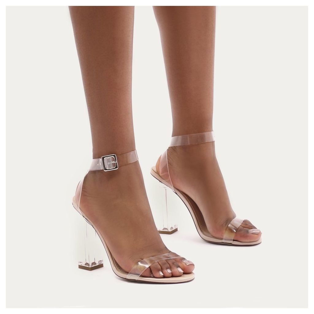 Alia Strappy Perspex High Heels in Clear, Nude