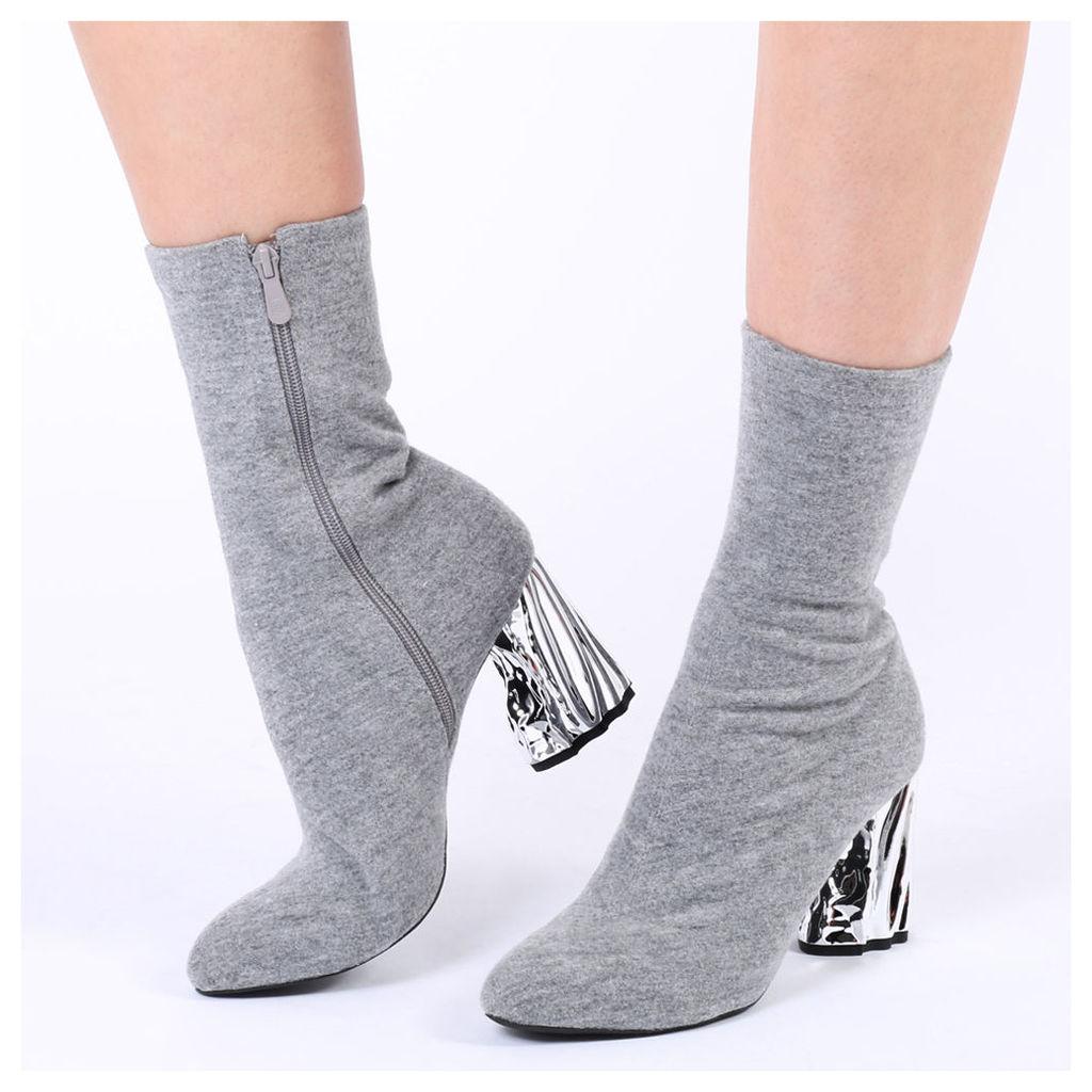 Nova Crushed Metal Heel Sock Fit Boots  Marl, Grey