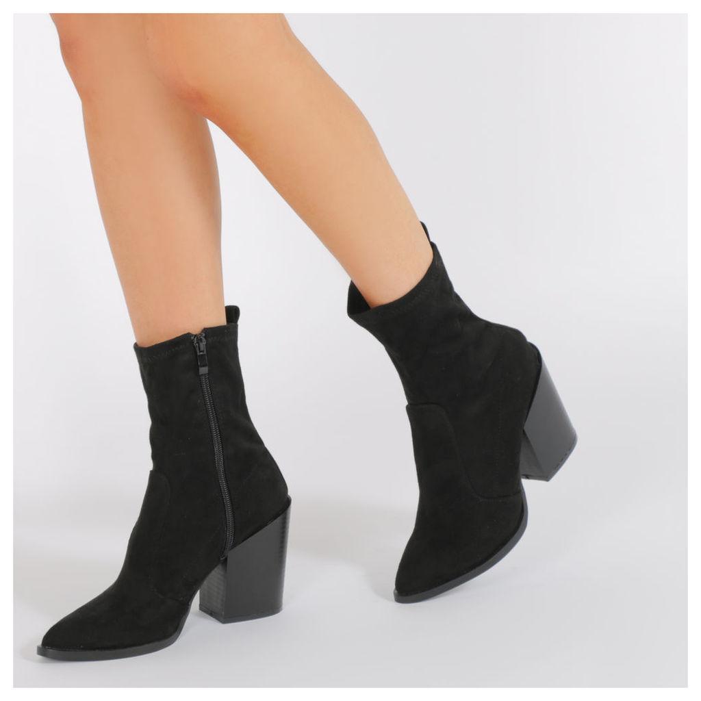 Gabriella Western Style Sock Boots  Faux Suede, Black