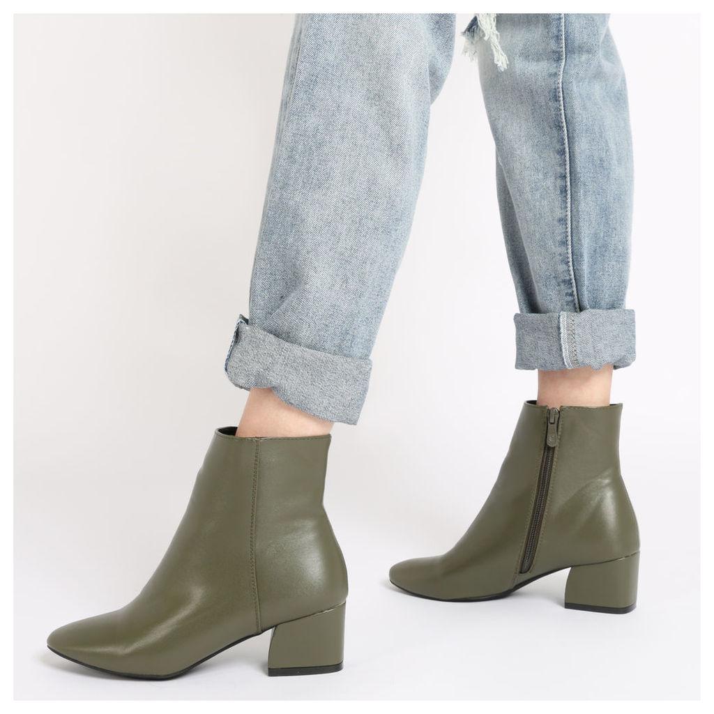 Sierra Flare Heel Ankle Boots in Khaki, Brown
