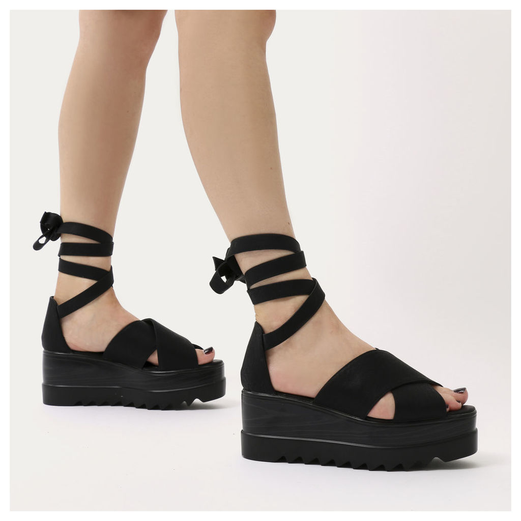 Arella Lace Up Stacked Flatform Sandals, Black