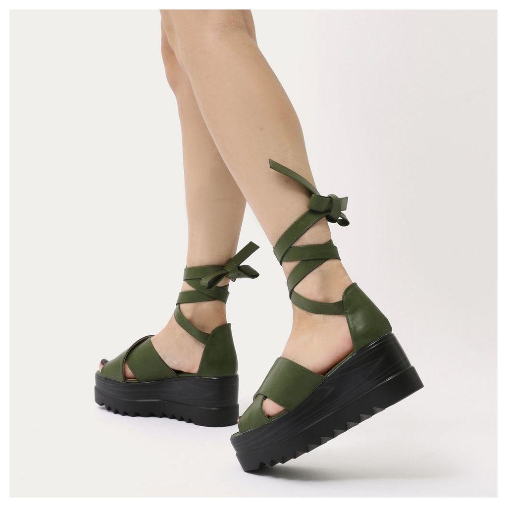 Arella Lace Up Stacked Flatform Sandals in Dark Khaki, Green