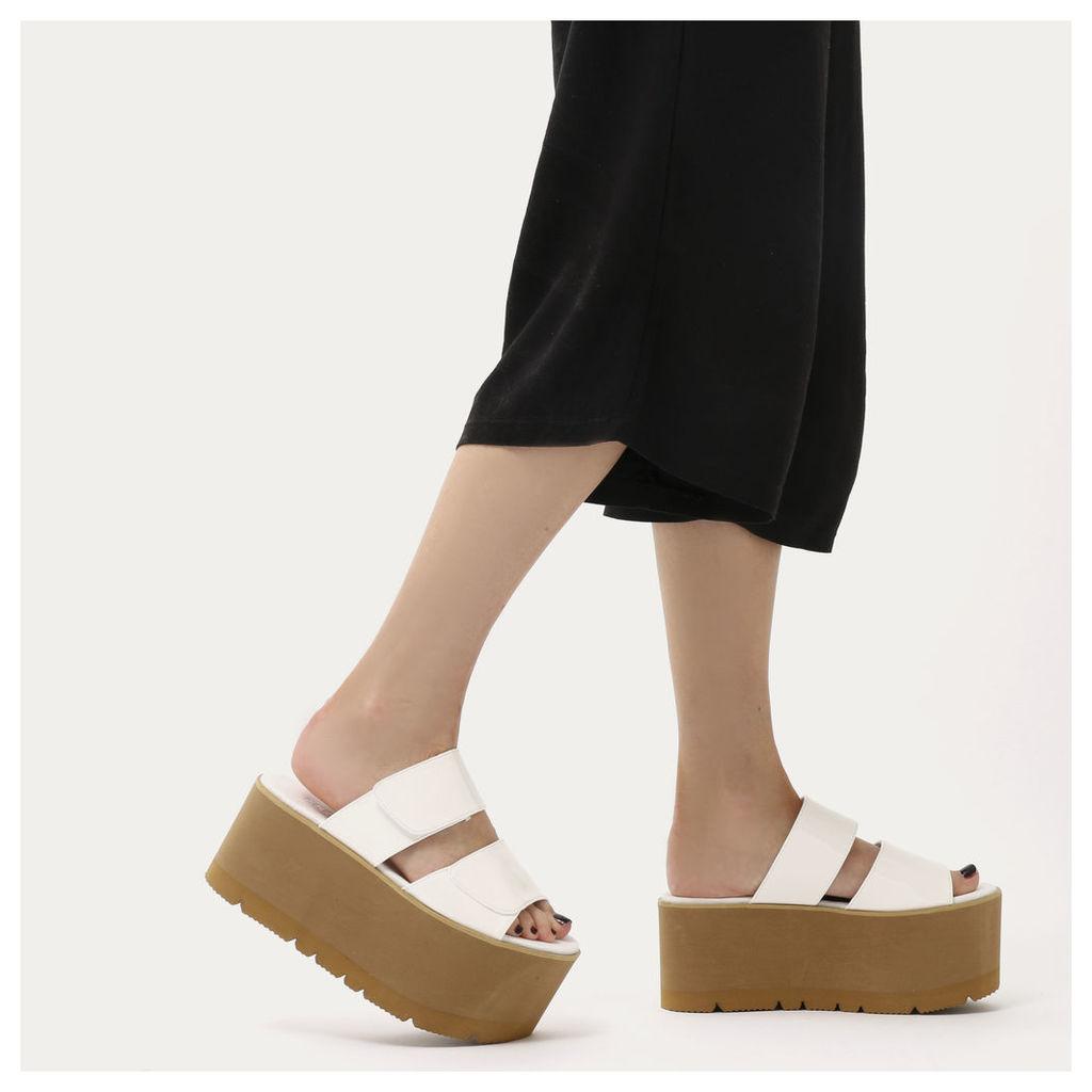 Tyra Velcro Strap Extreme Flatform Sandals  Patent, White