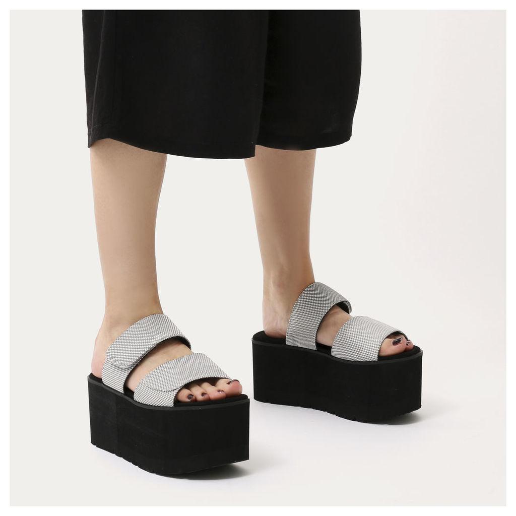 Tyra Velcro Strap Extreme Flatform Sandals  Mesh, Silver