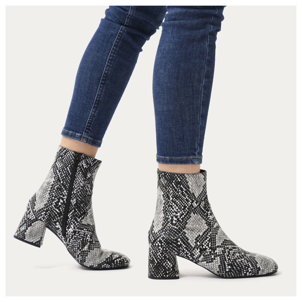 Blu Squared Toe Block Heel Ankle Boots in Faux Snake, White