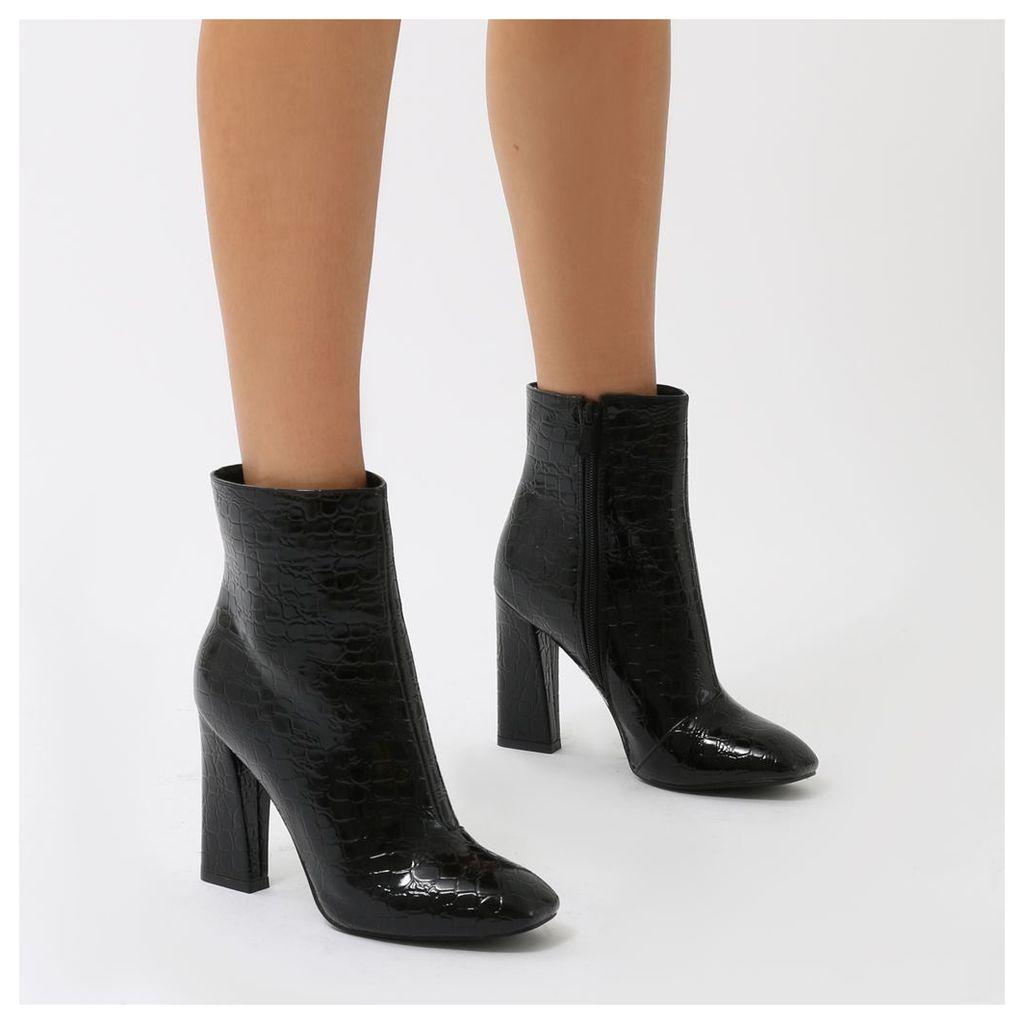 Erica Squared Toe Ankle Boots  Mock Croc, Black