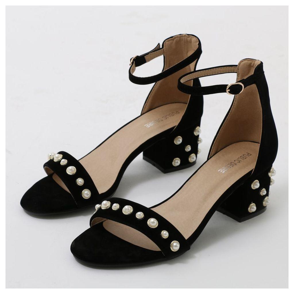 Bromley Pearl Detail Low Block Heels  Faux Suede, Black