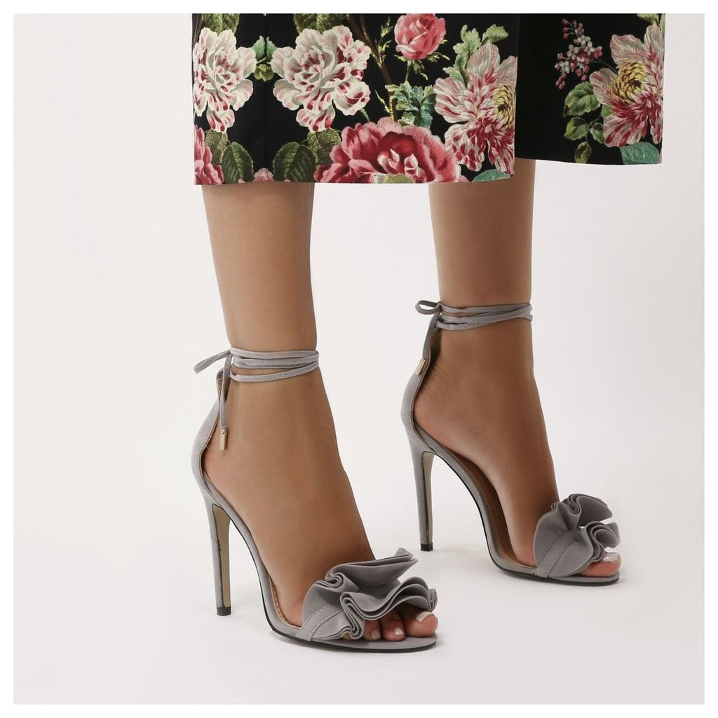 Sugar Ruffle Lace Up Barely There Heels  Faux Suede, Grey