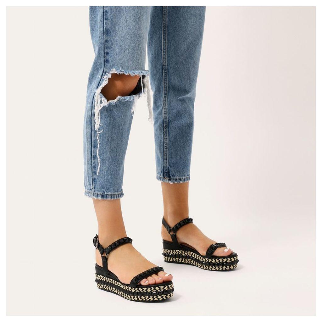 Gene Studded Braided Flatform Sandals, Black