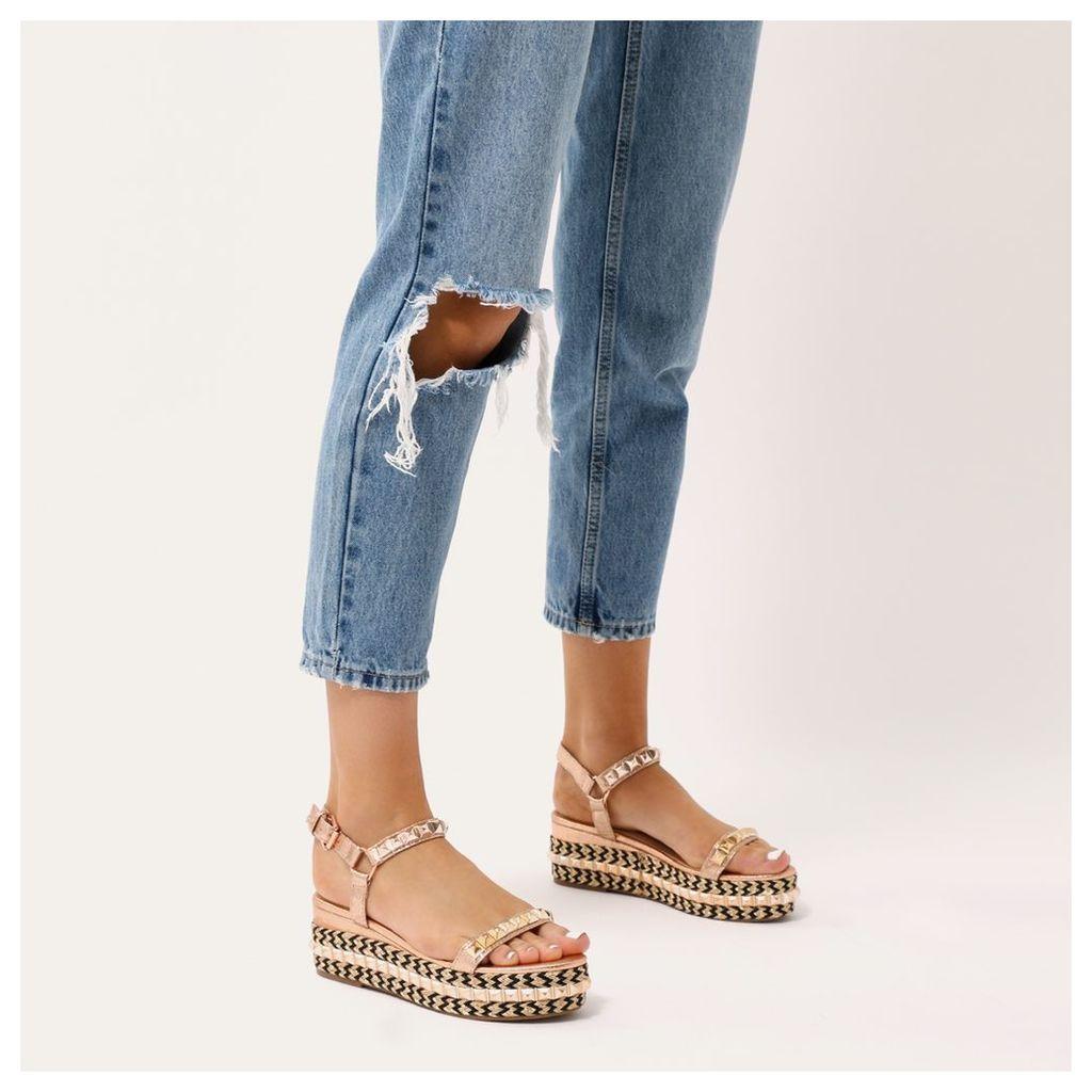 Gene Studded Braided Flatform Sandals in Rose, Gold