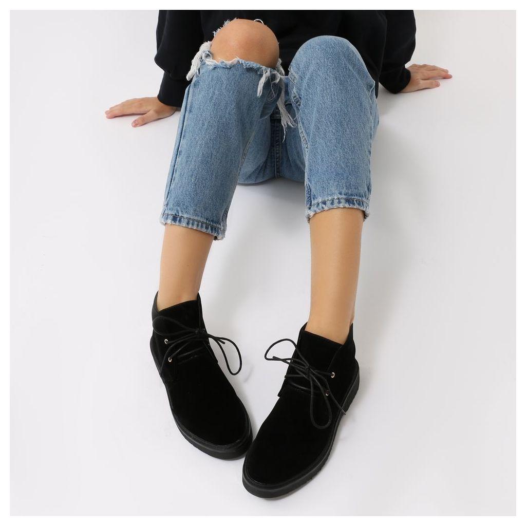 Greta Lace Up Desert Ankle Boots  Faux Suede, Black