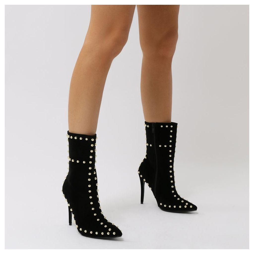 Artemis Studded Stiletto Ankle Boots  Faux Suede, Black
