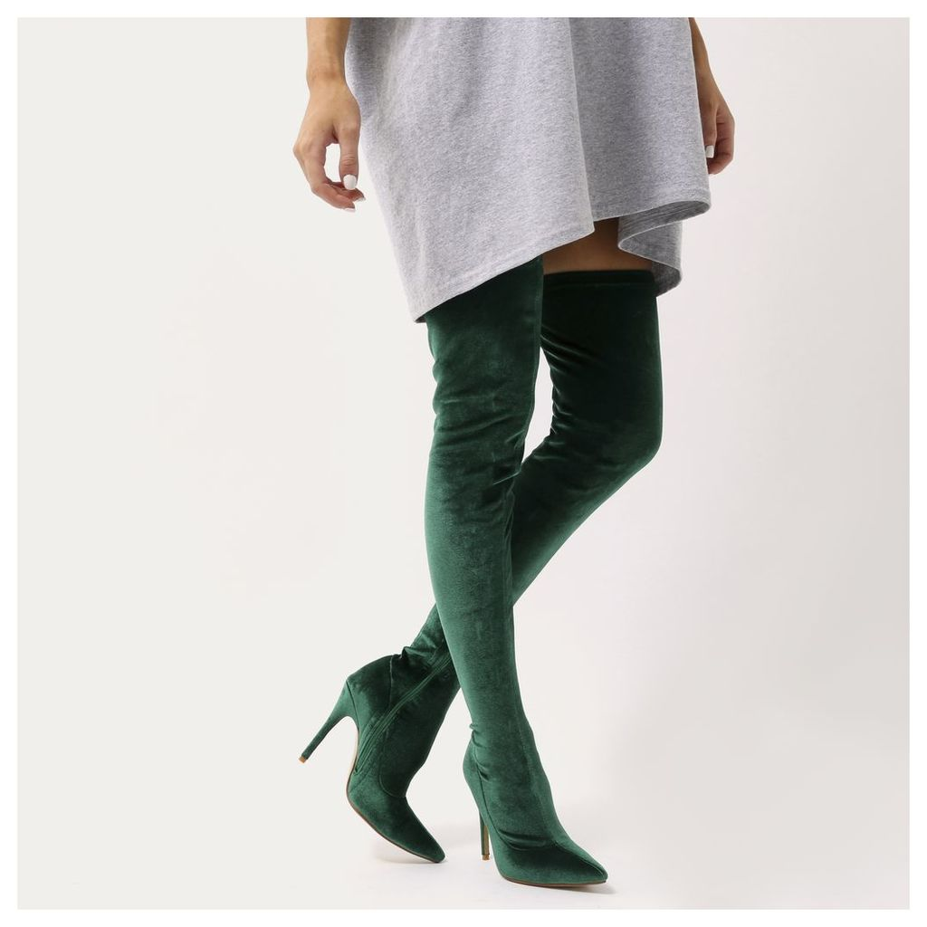 Dazzle Sock Fit Pointed Toe Over The Knee Boots  Velvet, Green