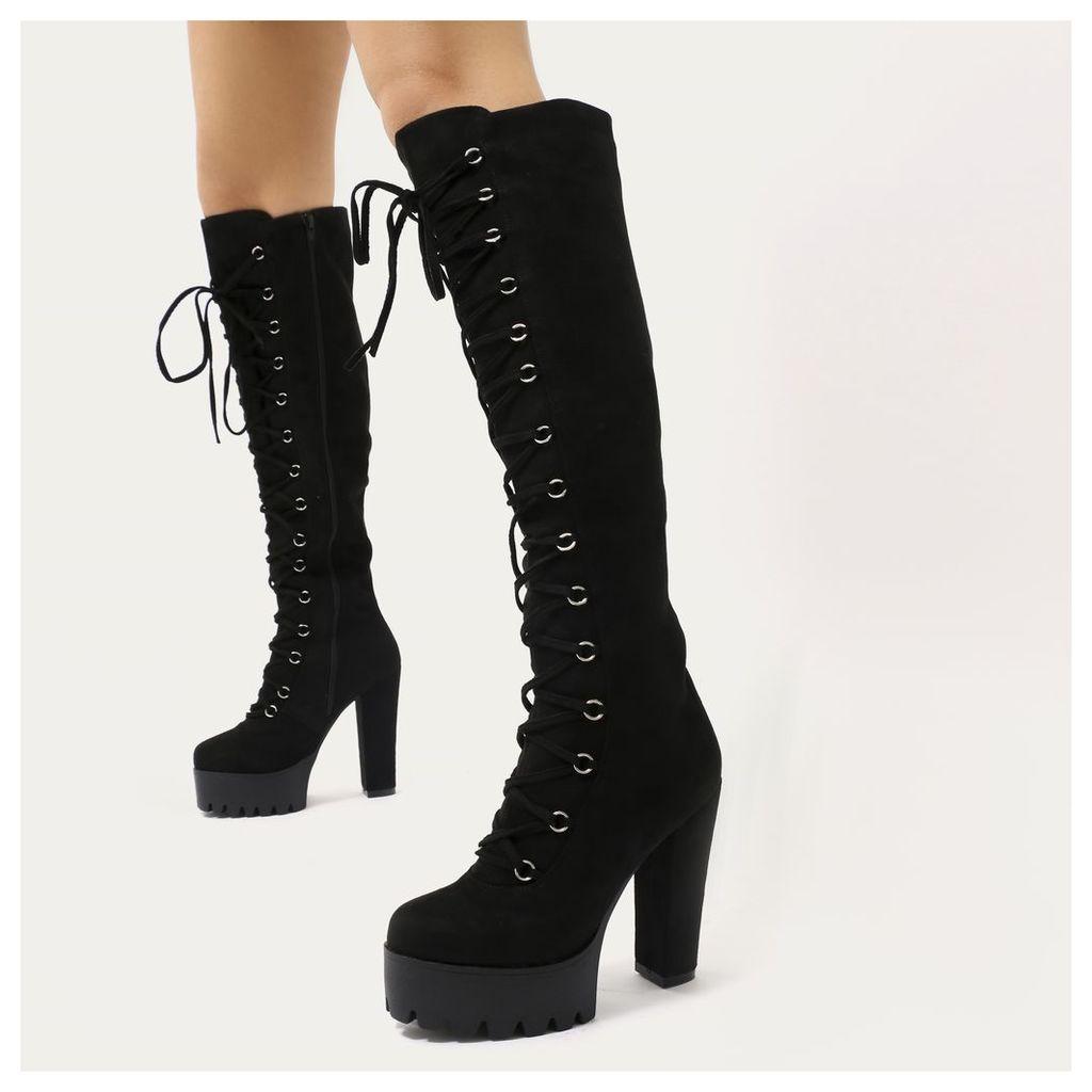Kadie Lace Up Knee High Platform Boots  Faux Suede, Black