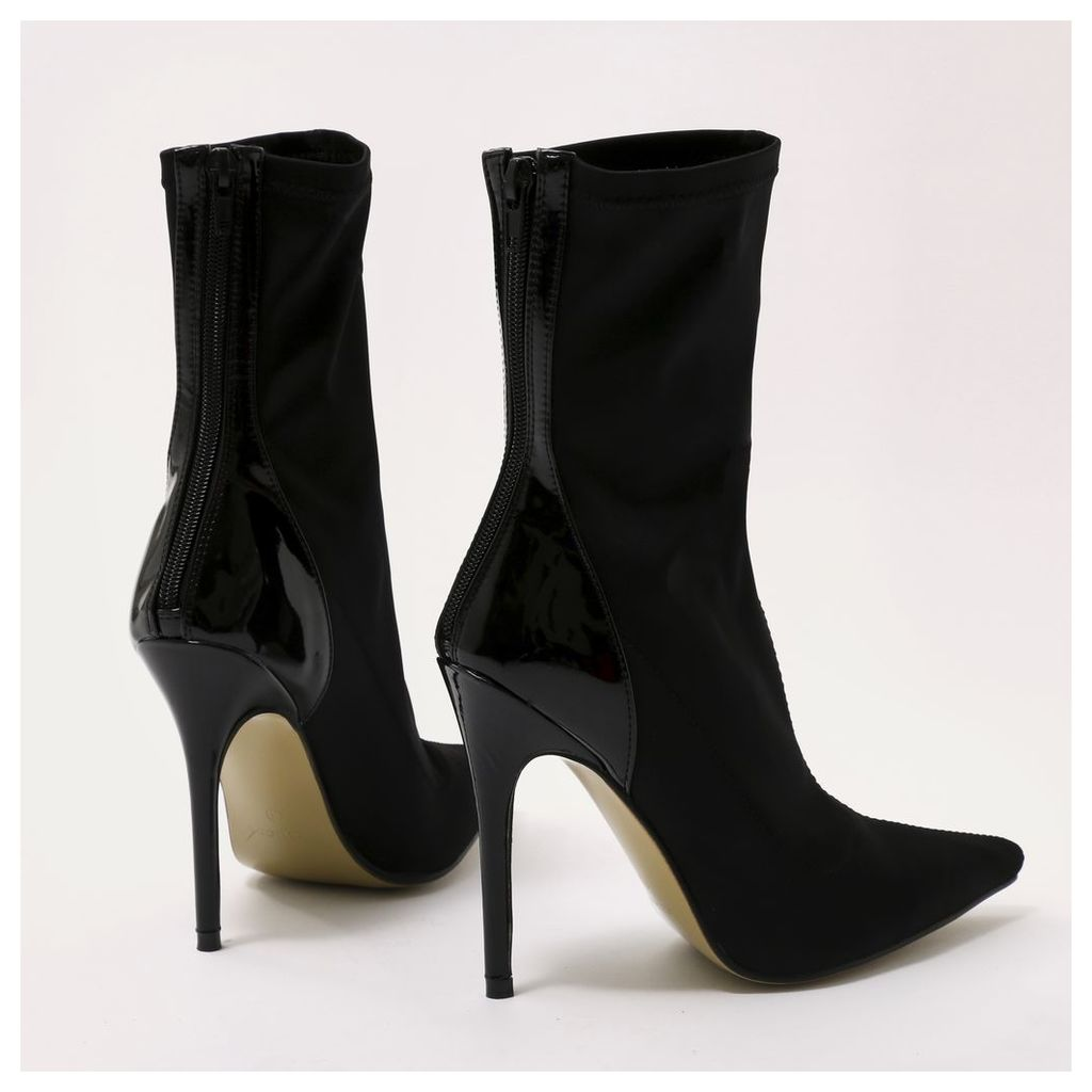 Staple Pointy Contrast Sock Boots  Stretch and Patent, Black