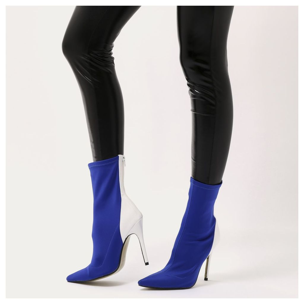 Staple Pointy Contrast Sock Boots  Stretch and White Patent, Blue