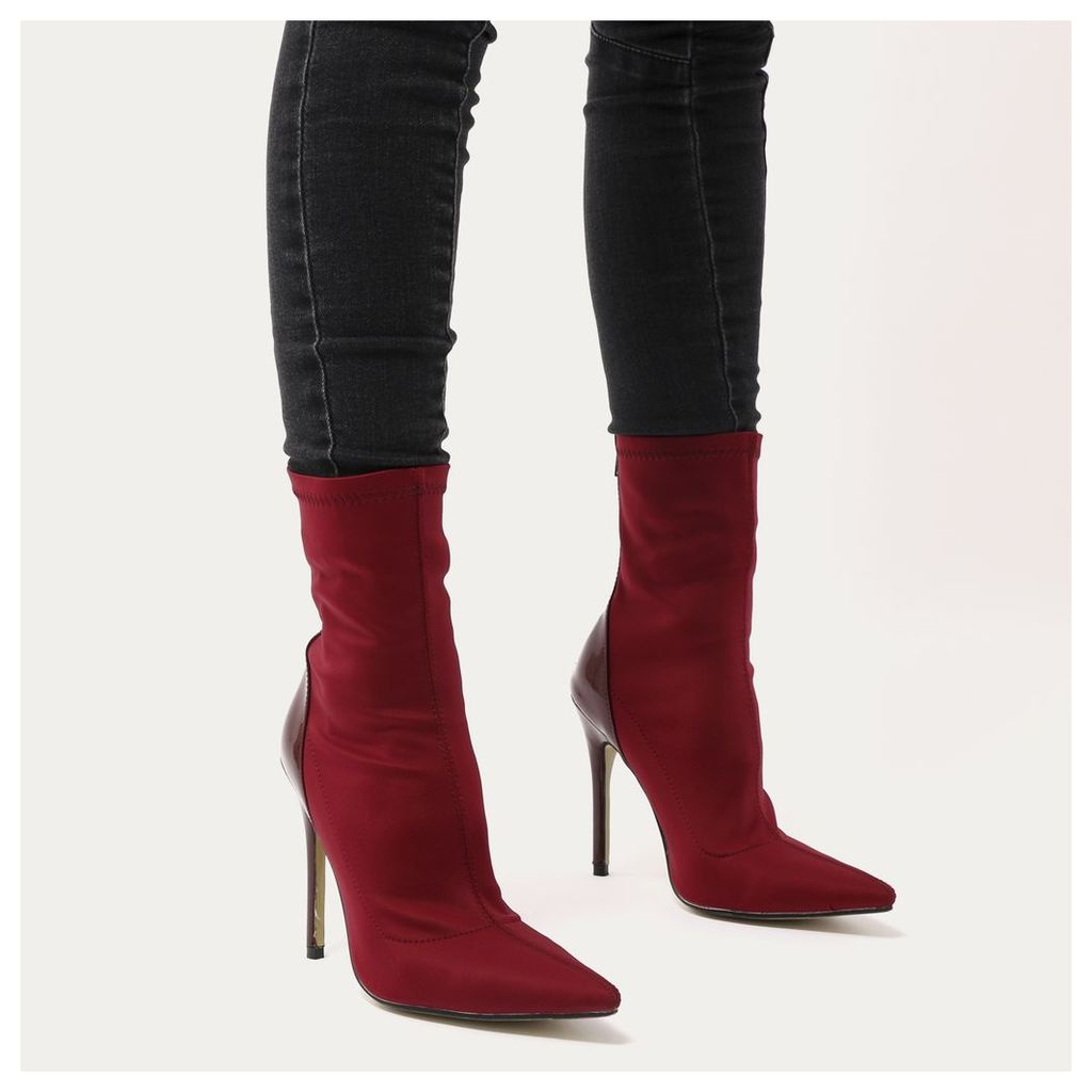Staple Pointy Contrast Sock Boots in Burgundy Stretch and Patent, Red