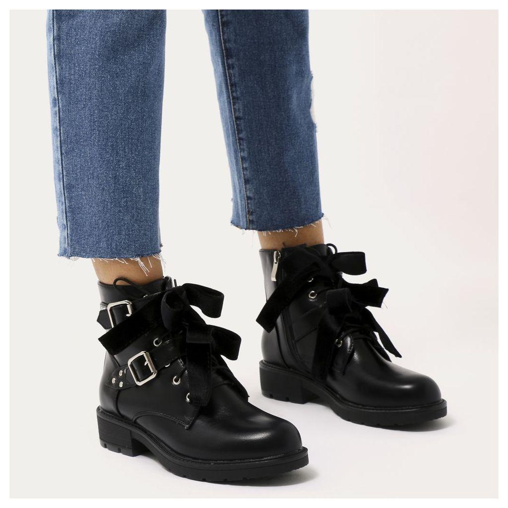 Kameko Ribbon Lace Biker Ankle Boots, Black