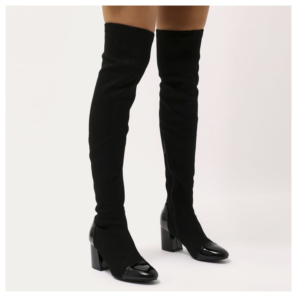 Lacquer Contrast Toe Cap Over The Knee Boots, Black