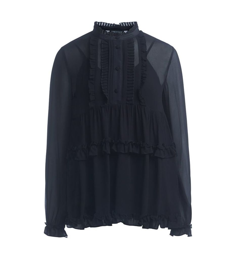 Twinset Black Shirt With Rouches