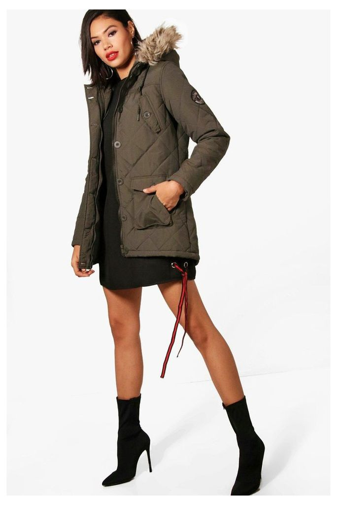 Quilted Parka With Faux Fur Hood - khaki