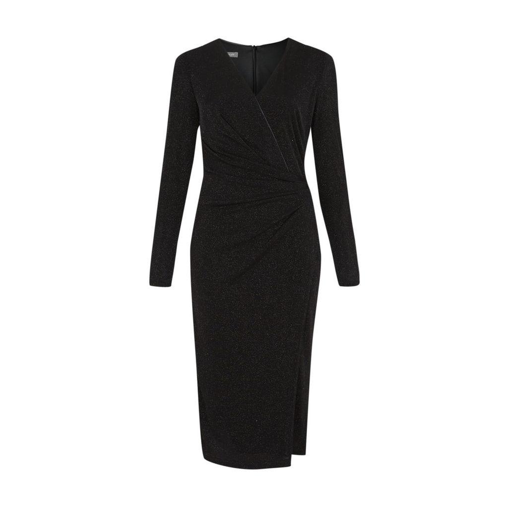 Black Sparkling Wrap Dress