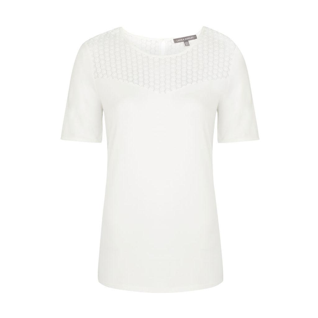 Yoke Detail White Jersey Top