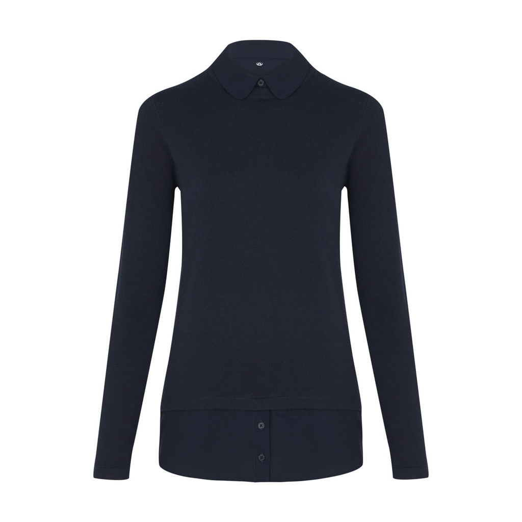 Navy Jumper with Removable Shirt Collar