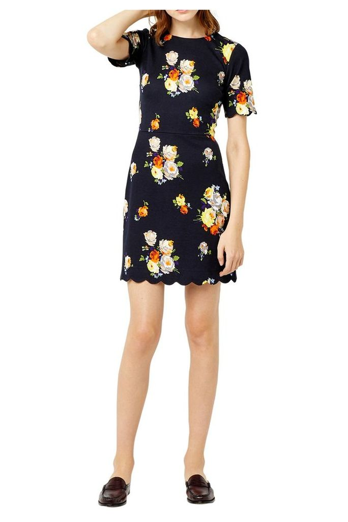 Warehouse Victoria Print Ponte Dress, Multi-Coloured