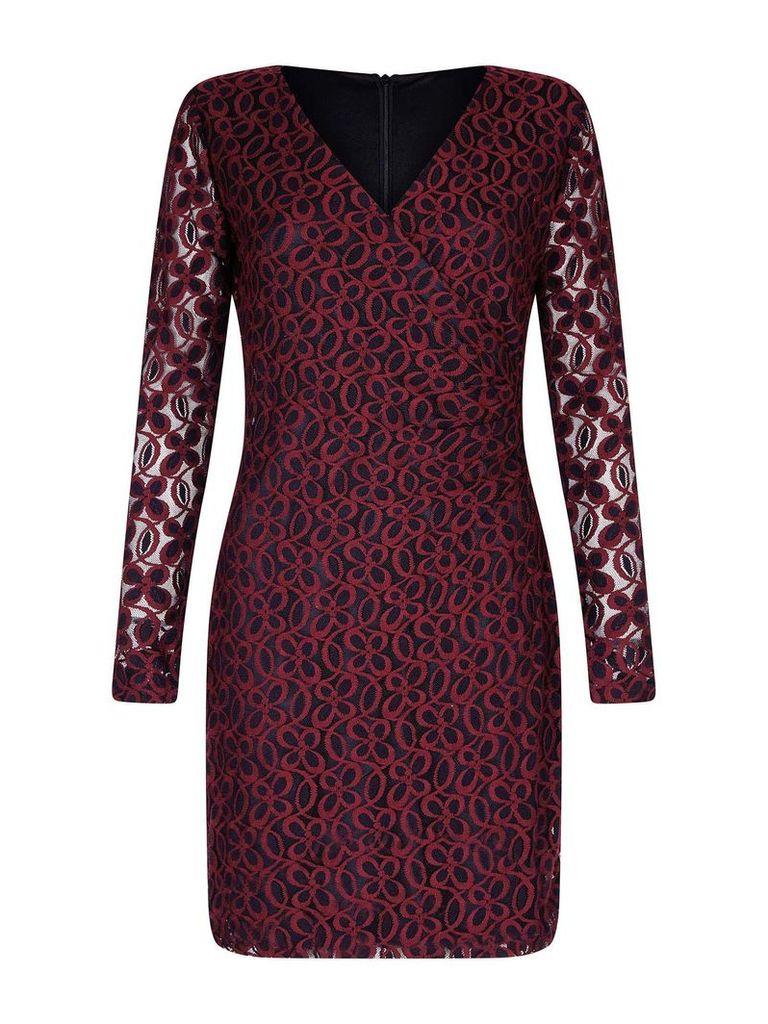 Mela London Flower Lace Wrap Bodycon Dress, Red