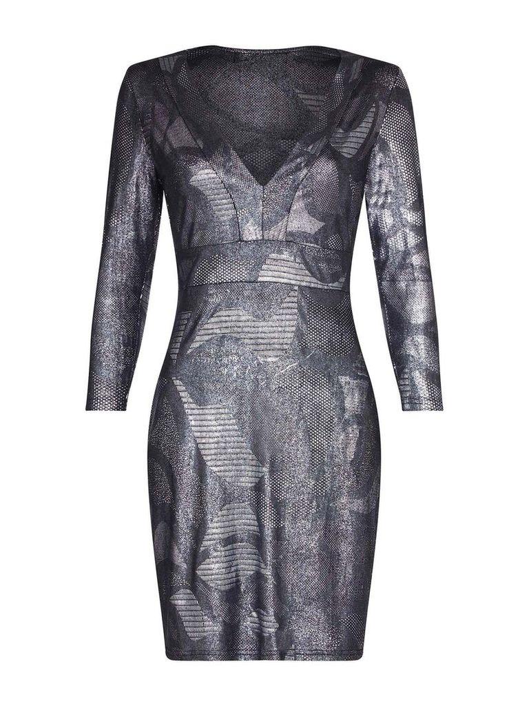 Mela London Metallic Bodycon Dress, Silver