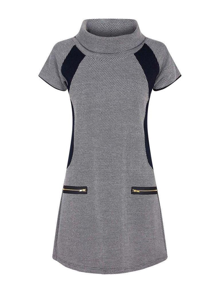 Mela London Cowl Neck Zipped Dress, Grey