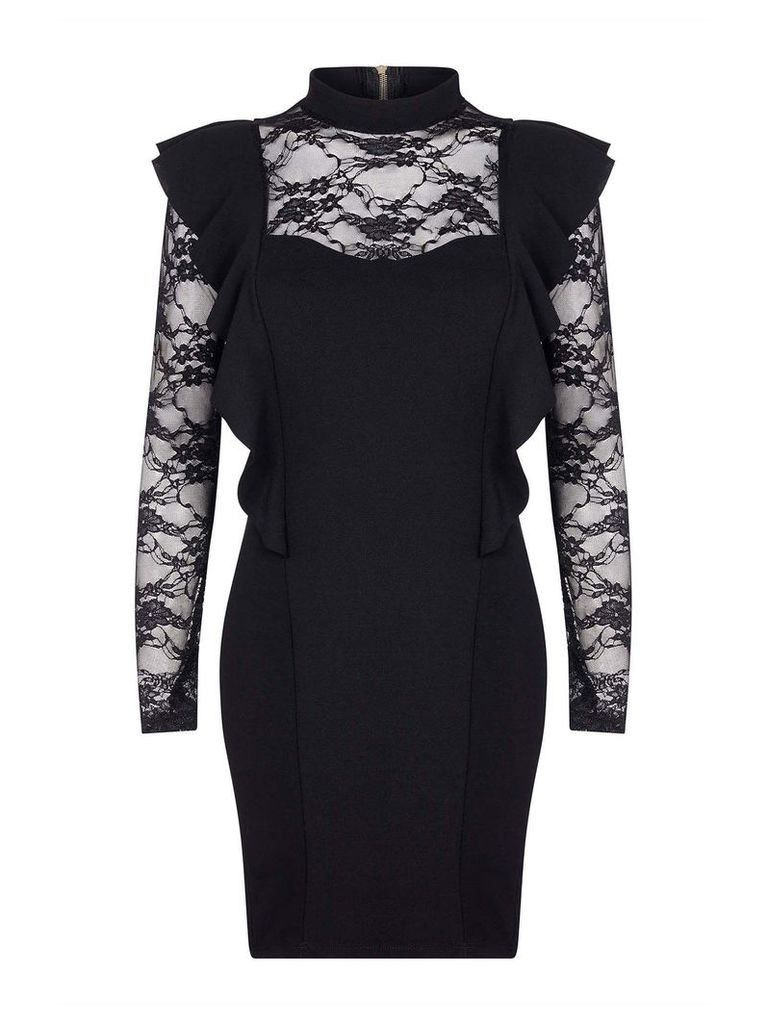 Mela London Lace Front Ruffled Bodycon Dress, Black
