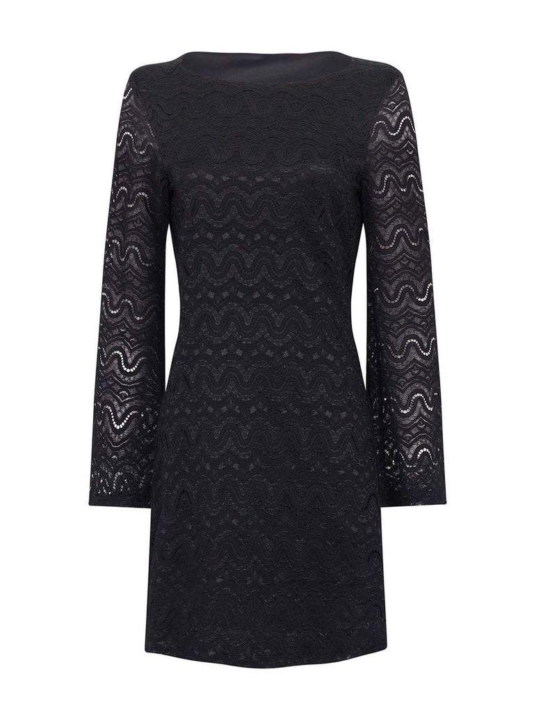 Mela London Lace Bell Sleeve Bodycon Dress, Black