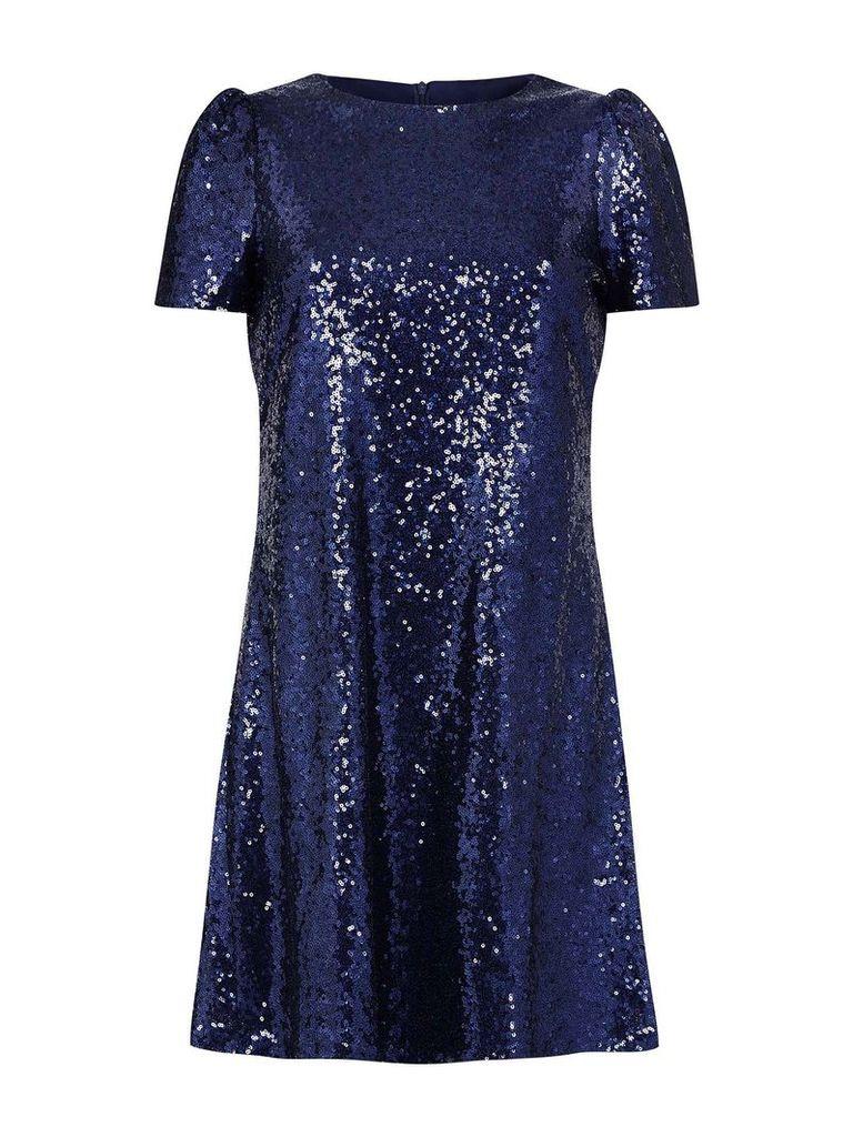 Mela London Cap Sleeve Sequinned Dress, Blue
