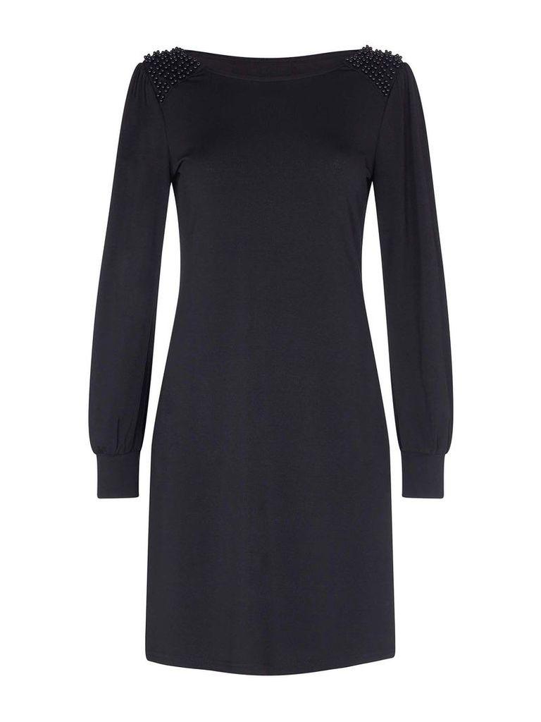 Mela London Long Sleeve Beaded Shoulder Bodycon Dress, Black