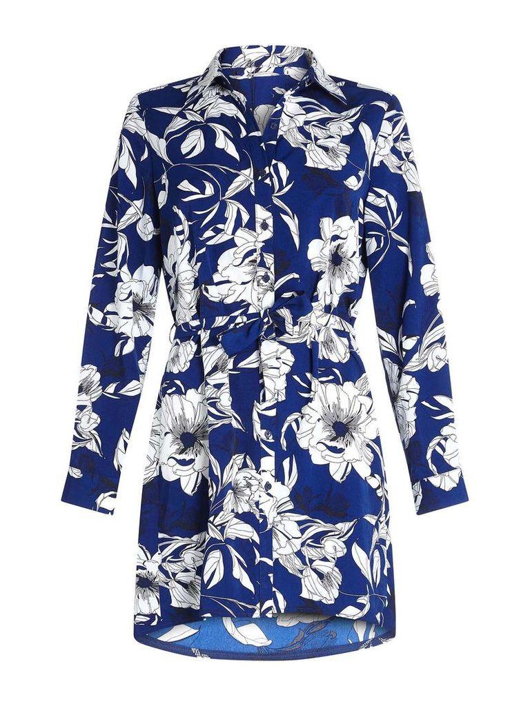 Mela London Flower Print Shirt Dress, Blue