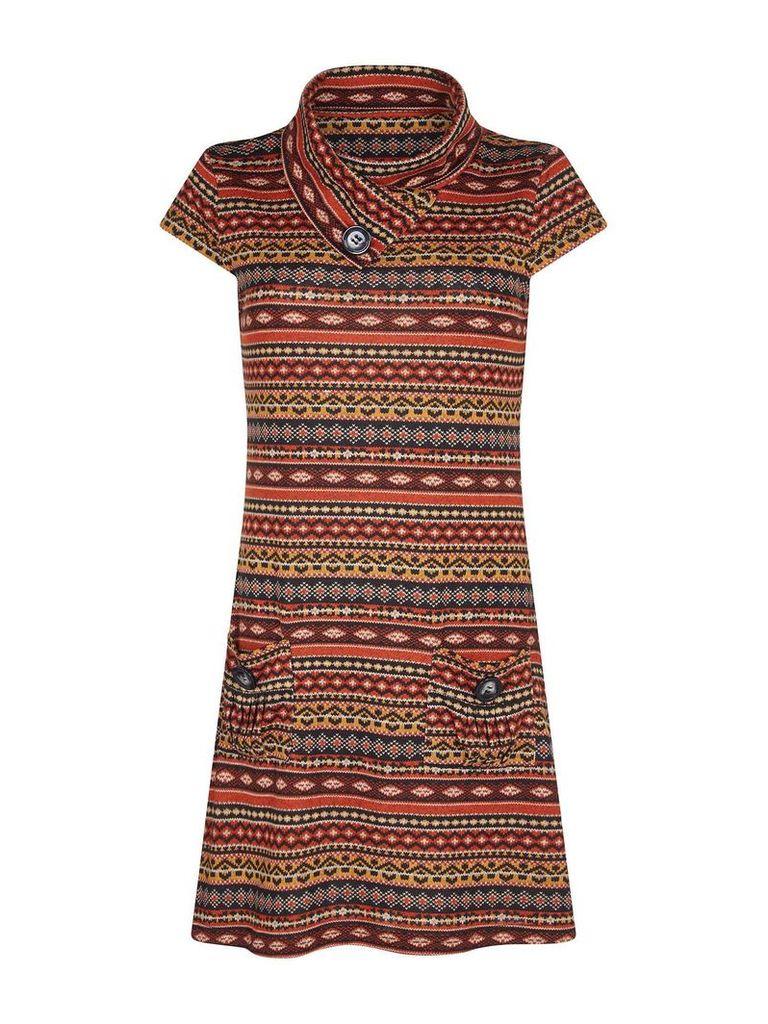 Mela London Aztec Print Paprika Tunic Dress, Rust