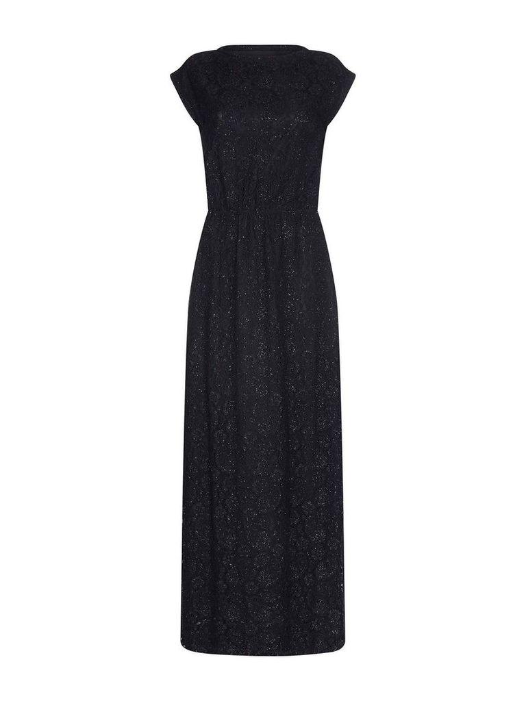 Mela London Sequin Lace Maxi Dress, Black
