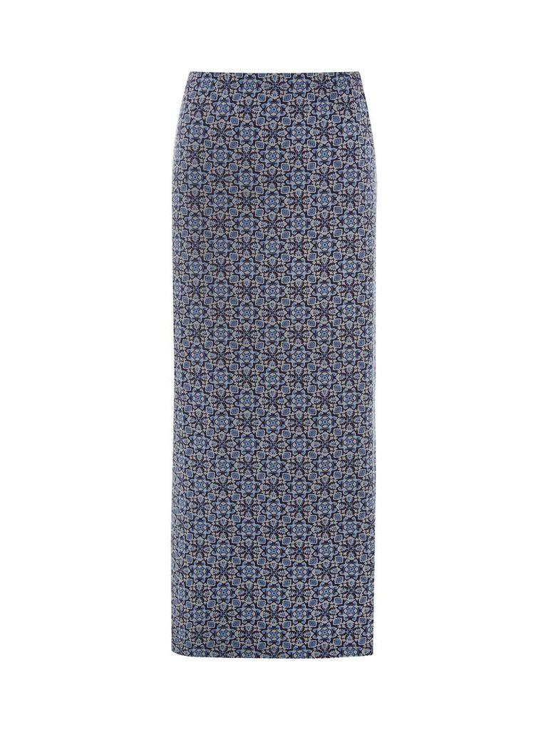 White Stuff Filly Print Maxi Jersey Skirt, Midnight Blue