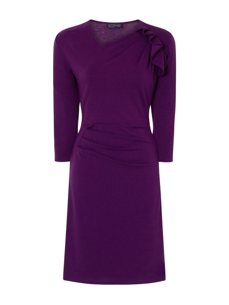 HotSquash Ruffle Jersey Dress in Thermal Fabric, Purple