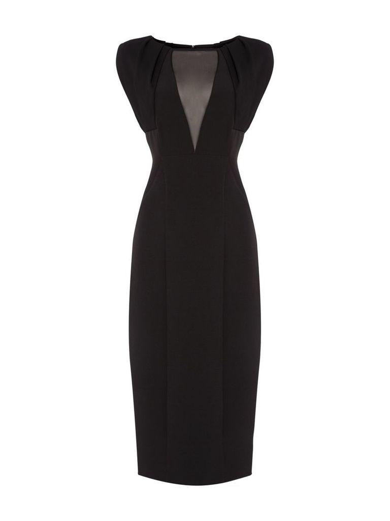 Linea Solange mesh panel bodycon dress, Black