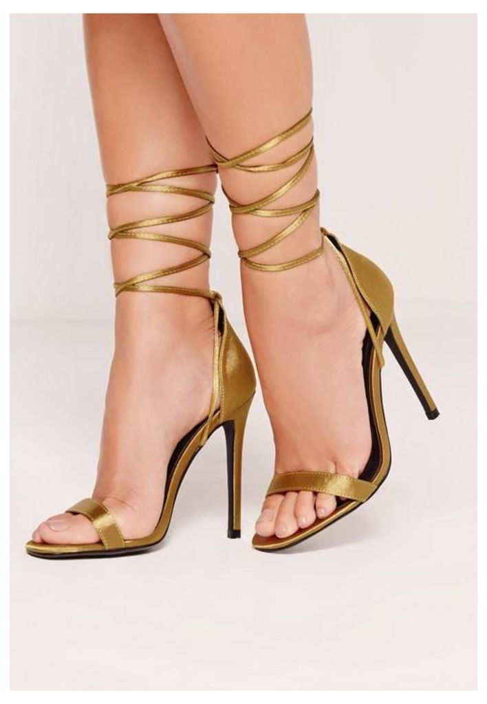 Lace Up Satin Barely There Heels Green, Green